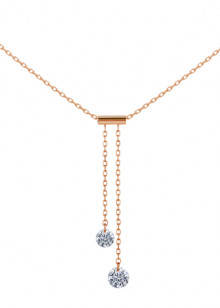 COLLIER CRAVATE 360°, 2 diamants brillants, 0,20 carat