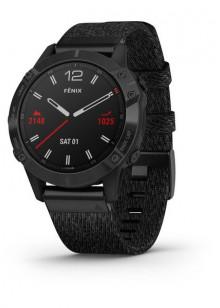 fenix6 - Revêtement en carbone amorphe noir avec bracelet en nylon noir chiné